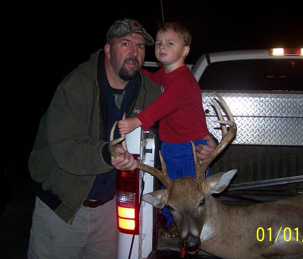 "Tripp & Hayden Timmons -- 12-15-10 -- 1st Father/Son kill -- 17.75"" 175Lb 8Pt."