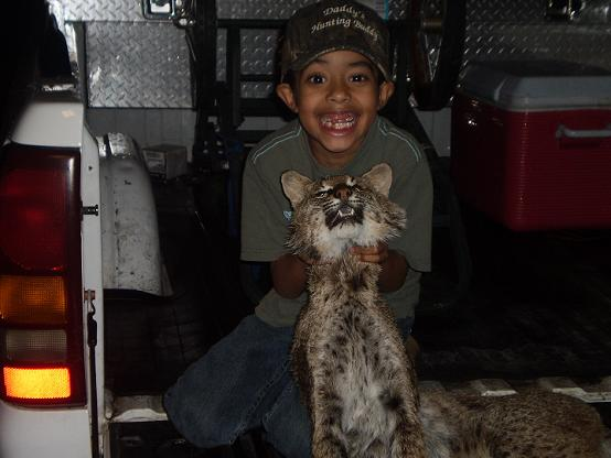 Christopher Jernigan, 6 years old, with his 1st Bobcat!